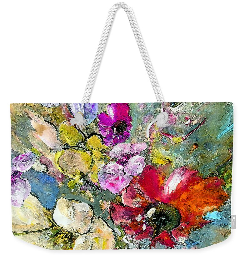 Nature Painting Weekender Tote Bag featuring the painting First Flowers by Miki De Goodaboom