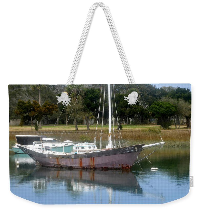Boat Weekender Tote Bag featuring the photograph First Harbor by David Lee Thompson