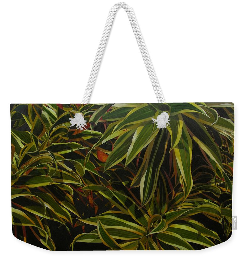Leaves Weekender Tote Bag featuring the painting First in Cabot by Thu Nguyen