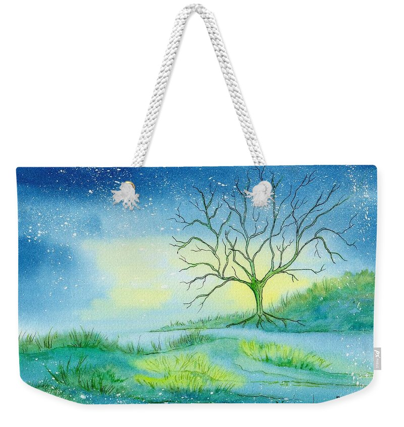Watercolor Weekender Tote Bag featuring the painting First Light by Brenda Owen