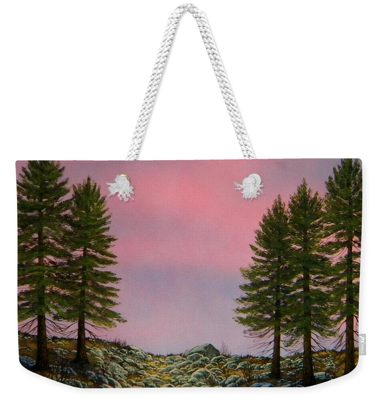 Landscape Weekender Tote Bag featuring the painting First Light by Frank Wilson