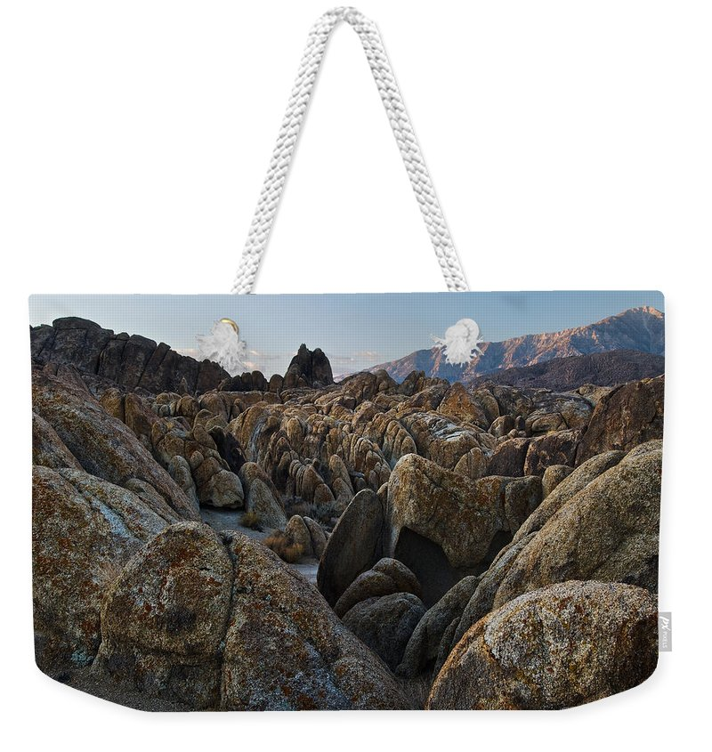 Arid Weekender Tote Bag featuring the photograph First Light Over Alabama Hills California by Steve Gadomski