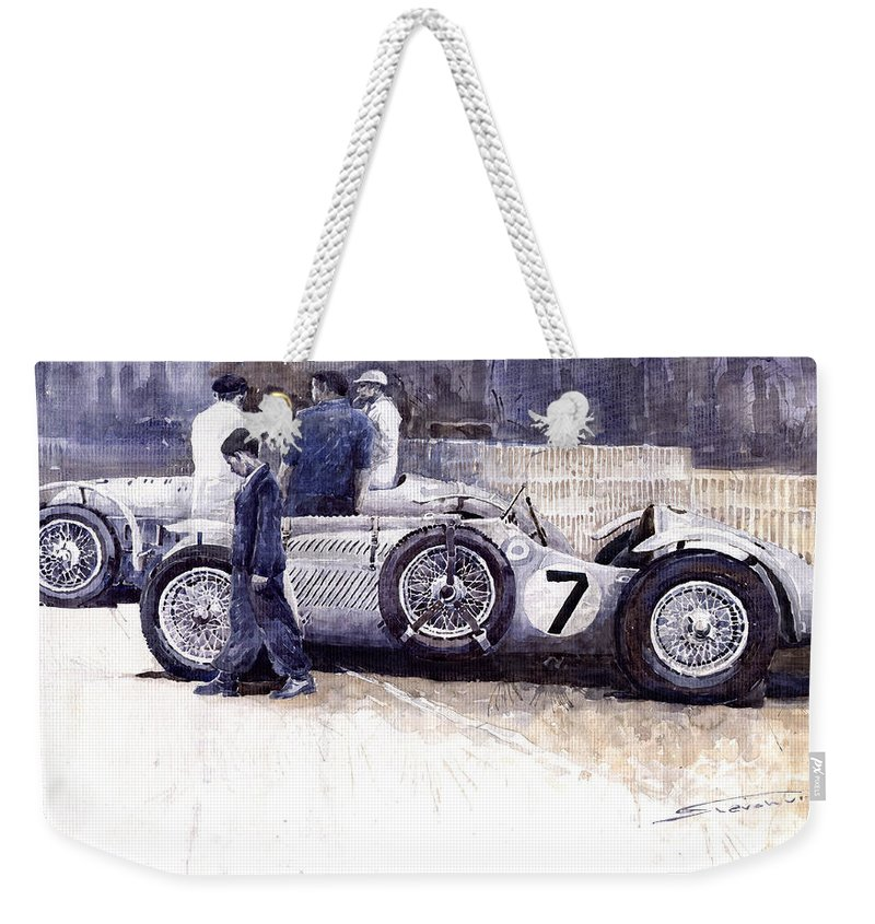 Auto Weekender Tote Bag featuring the painting 1950 First Met Up Talbot Lago Le Mans 24 by Yuriy Shevchuk