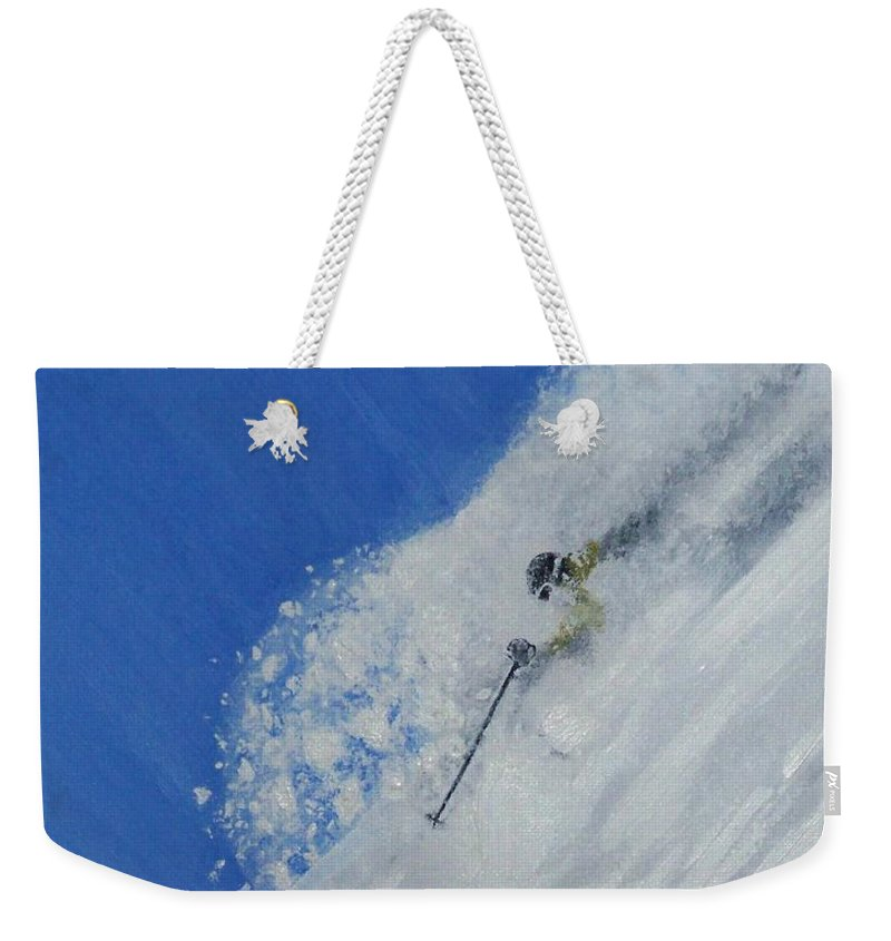 Ski Weekender Tote Bag featuring the painting First by Michael Cuozzo