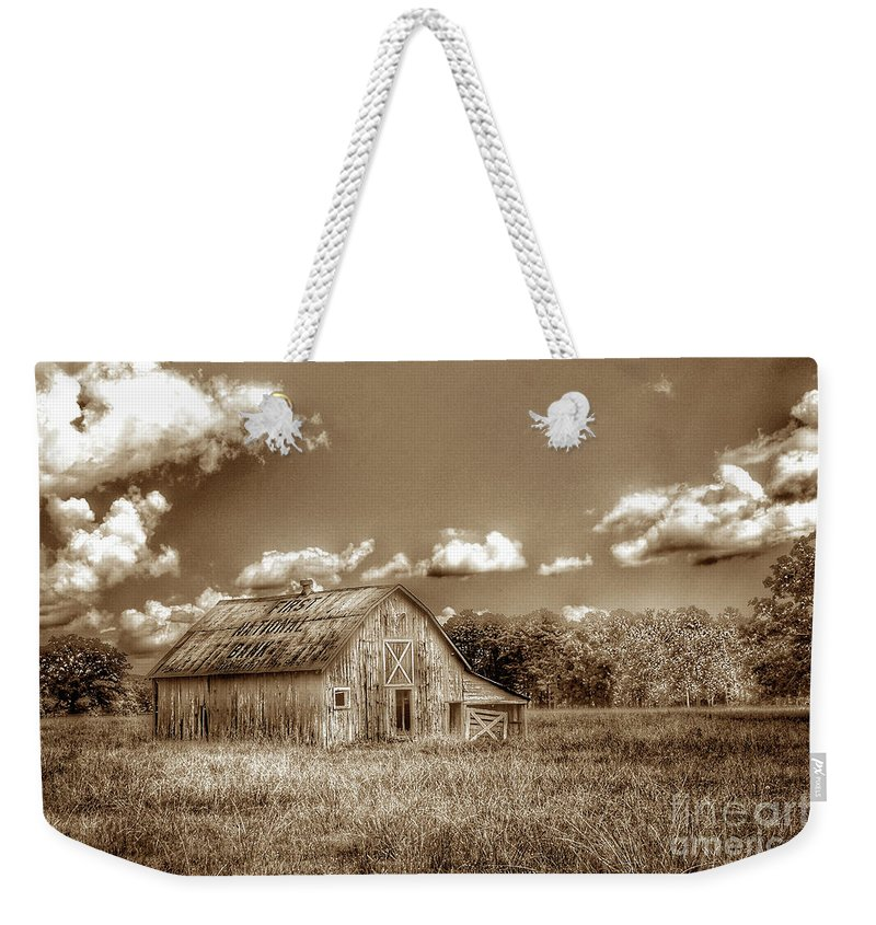 Barn Weekender Tote Bag featuring the photograph First National Bank S by John Myers