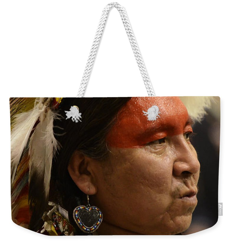 Pow Wow Weekender Tote Bag featuring the photograph Pow Wow First Nations Man Portrait 1 by Bob Christopher