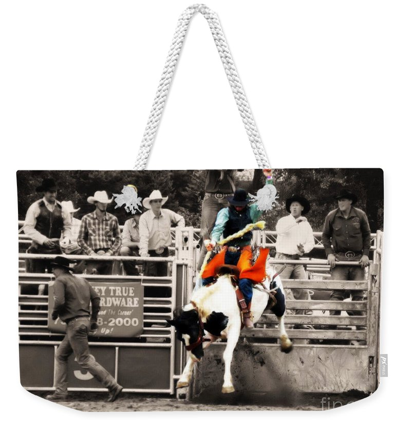 Cowboy Weekender Tote Bag featuring the photograph First Out Of The Chute by September Stone