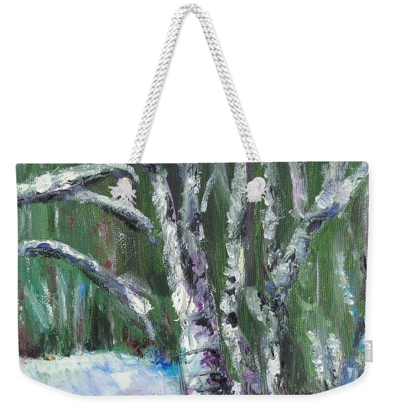 Landscape Weekender Tote Bag featuring the painting First Snow by Eydie Paterson