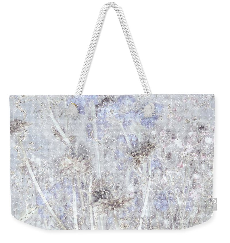 Field Weekender Tote Bag featuring the painting First Snow In The Field by RC DeWinter
