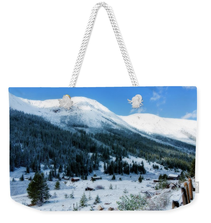 Abandoned Weekender Tote Bag featuring the photograph First Snow by Joan Carroll