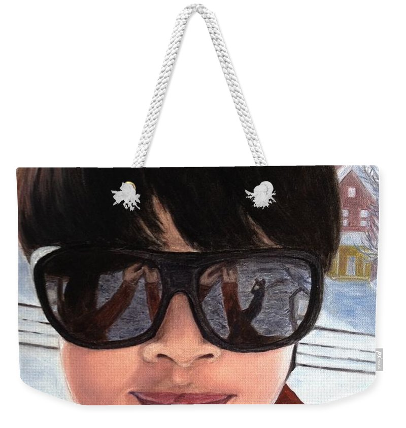 Winter Weekender Tote Bag featuring the painting First Snow - Self-portrait In Oil by Lavender Liu