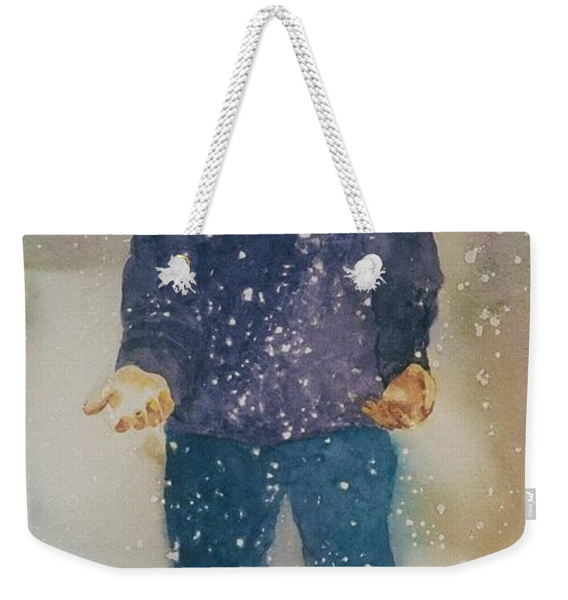 Original Custom Art Watercolor Snow Child Boy Weekender Tote Bag featuring the painting First Snow by Maggie Clark