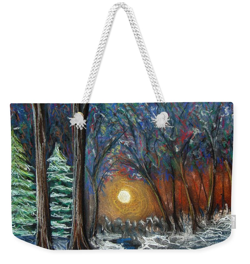 Snow Weekender Tote Bag featuring the pastel First Snow by Nancy Mueller