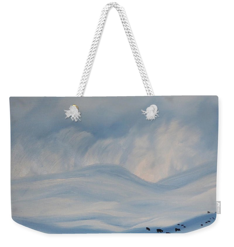 Wintere Snow Storm Weekender Tote Bag featuring the painting First Snow Storm Madison County 2015 by Cheryl Nancy Ann Gordon