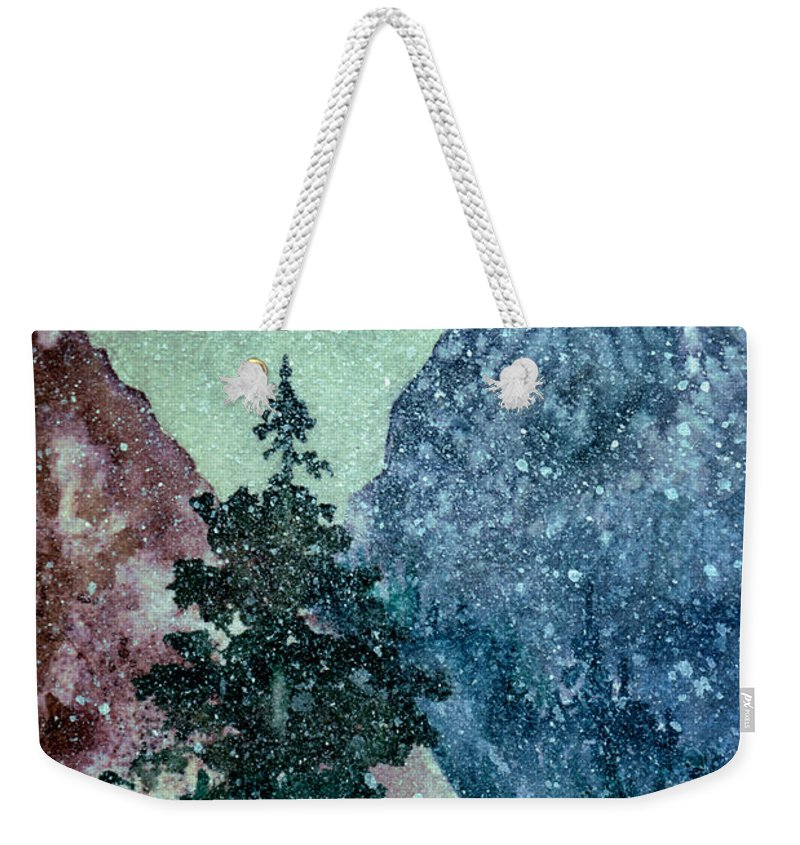 Landscape Weekender Tote Bag featuring the painting First Snowfall by Brenda Owen