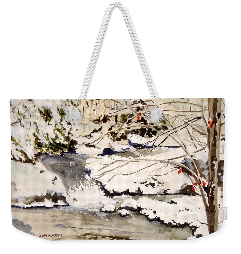 Winter Scene Weekender Tote Bag featuring the painting First Snowfall by Jean Blackmer
