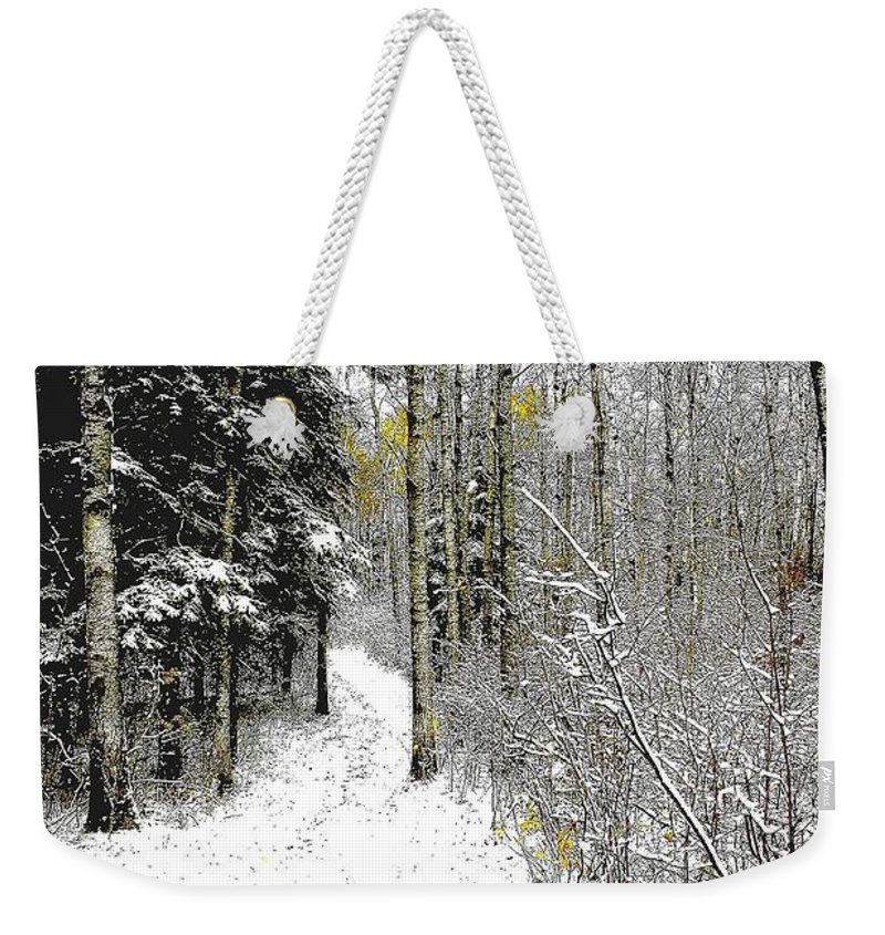 Winter Weekender Tote Bag featuring the photograph First Snowfall by Nelson Strong