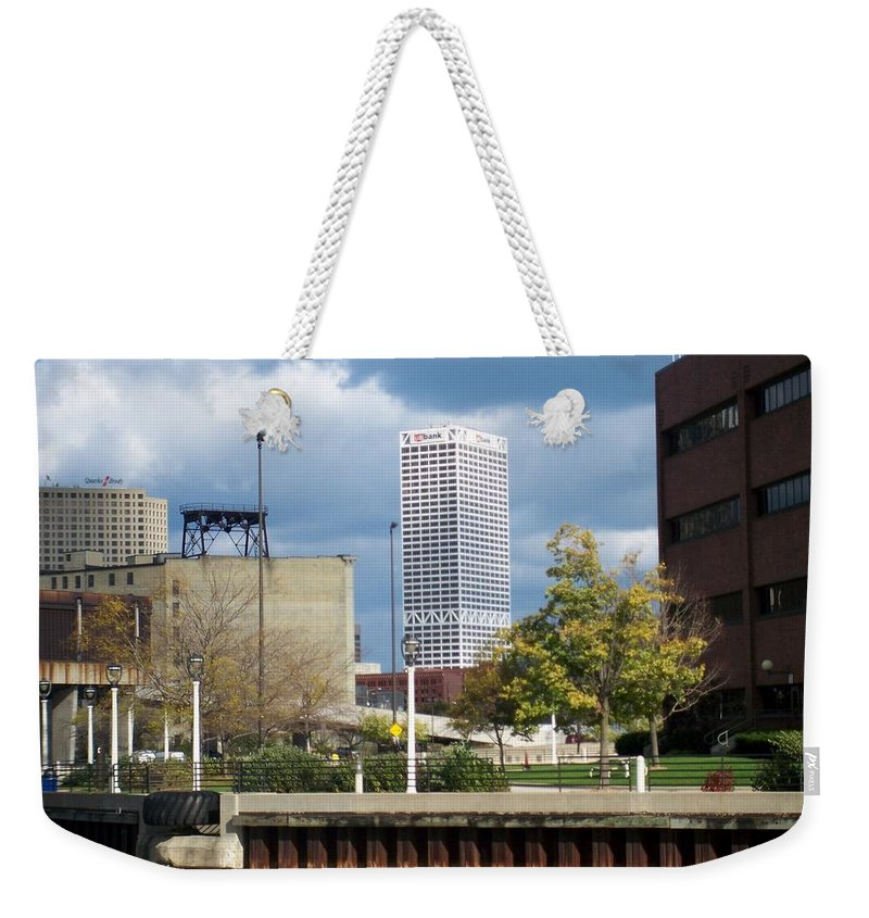 First Star Bank Weekender Tote Bag featuring the photograph First Star View From River by Anita Burgermeister