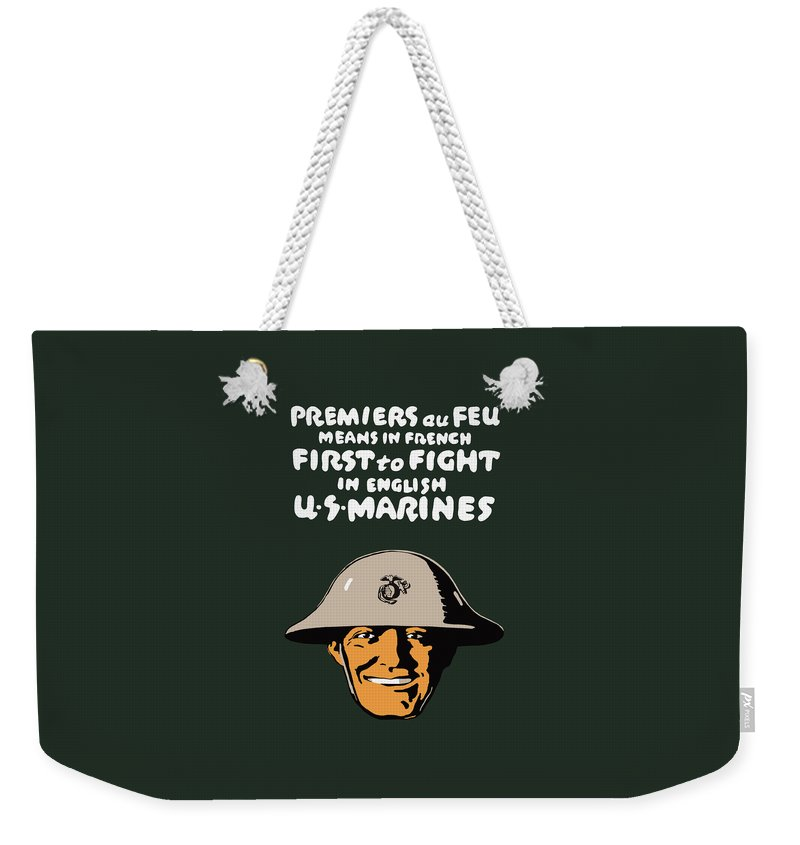 Marine Corps Weekender Tote Bag featuring the painting First To Fight - Us Marines by War Is Hell Store