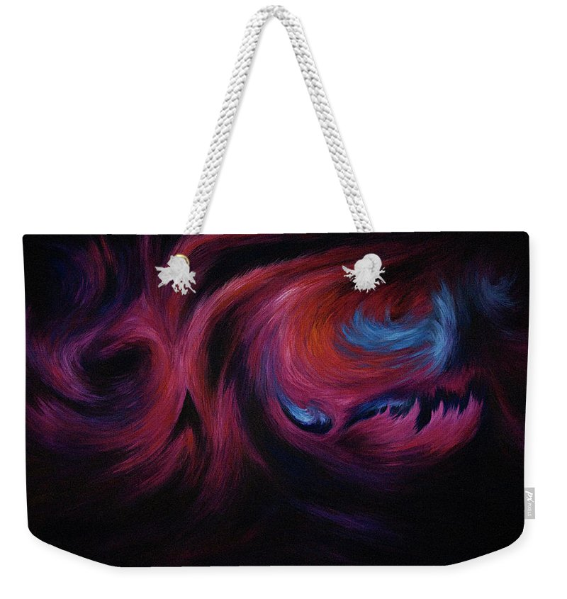 Abstract Weekender Tote Bag featuring the painting First Transcendence by Rachel Christine Nowicki