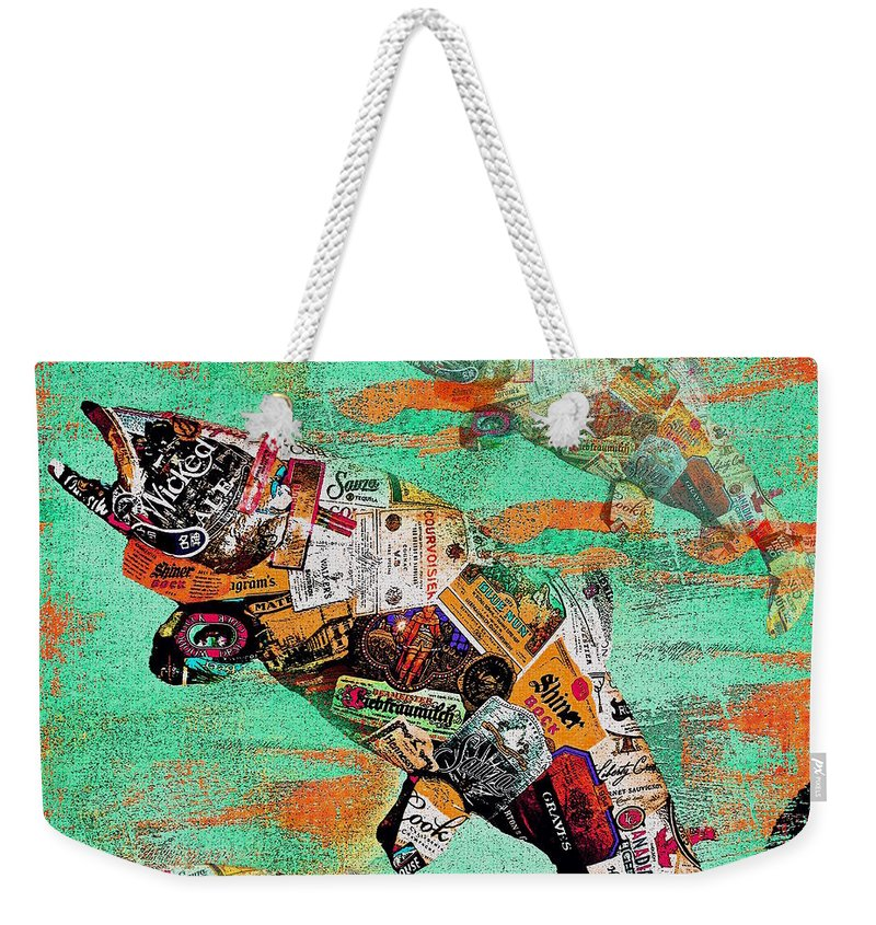 Fish Weekender Tote Bag featuring the painting Fish And Bourbon by Saundra Myles