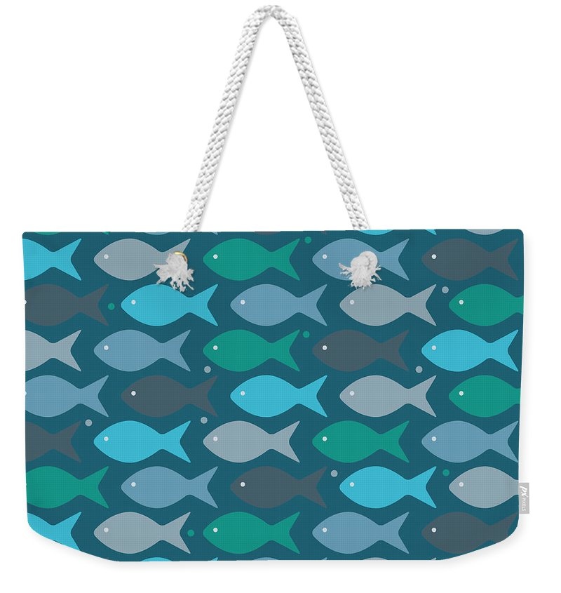 Dolphins Weekender Tote Bag featuring the digital art Fish Blue by Mark Ashkenazi