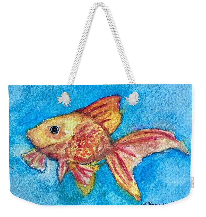 Goldfish Weekender Tote Bag featuring the painting Fish Bowl by Katie Barnes