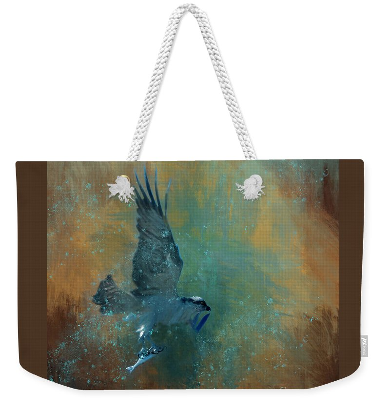 Wildlife Weekender Tote Bag featuring the mixed media Fish Day by Marvin Spates