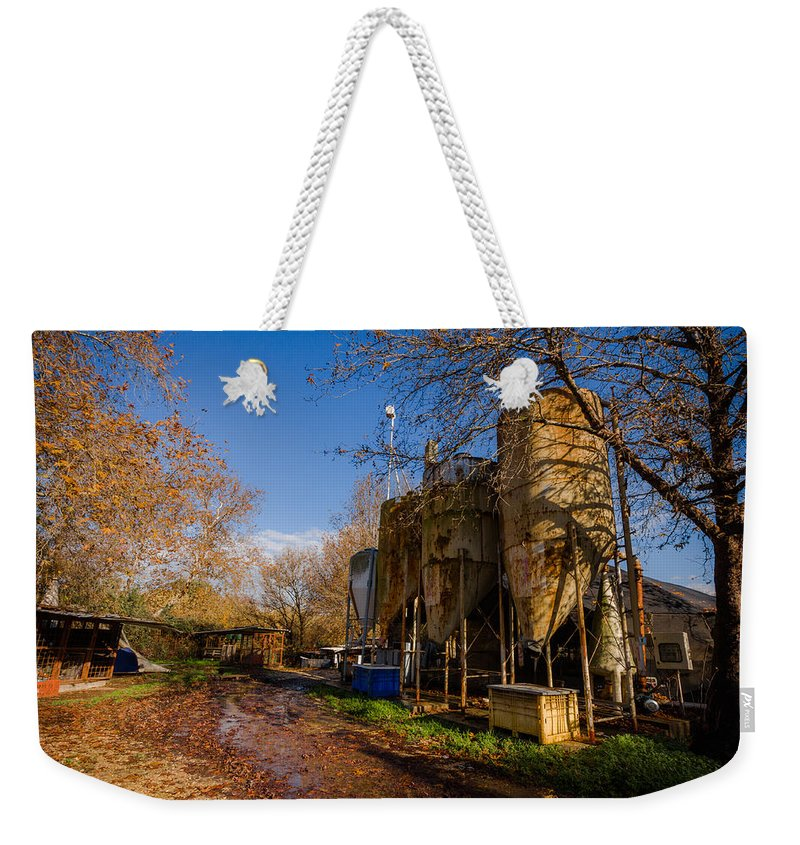 Landscape Weekender Tote Bag featuring the photograph Fish Farm At Autumn by Mark Perelmuter