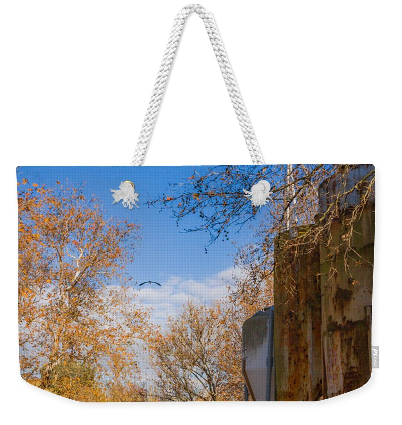 Landscape Weekender Tote Bag featuring the photograph Fish Farm by Mark Perelmuter