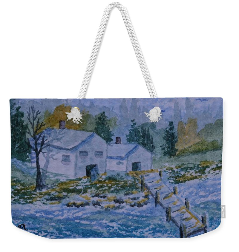Fish House And Dock 2 Weekender Tote Bag featuring the painting Fish House And Dock 2 by Warren Thompson