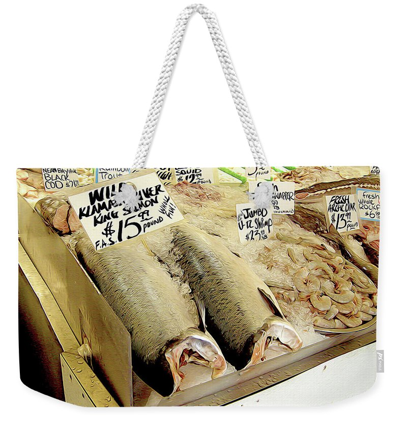 Market Weekender Tote Bag featuring the photograph Fish Market by Linda Carruth