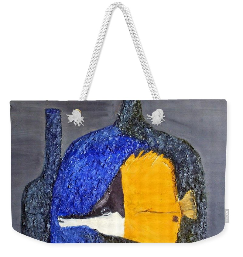 Still Life Paintings Weekender Tote Bag featuring the painting Fish N Jar If You Can Catch Me Enjoy by Leslye Miller