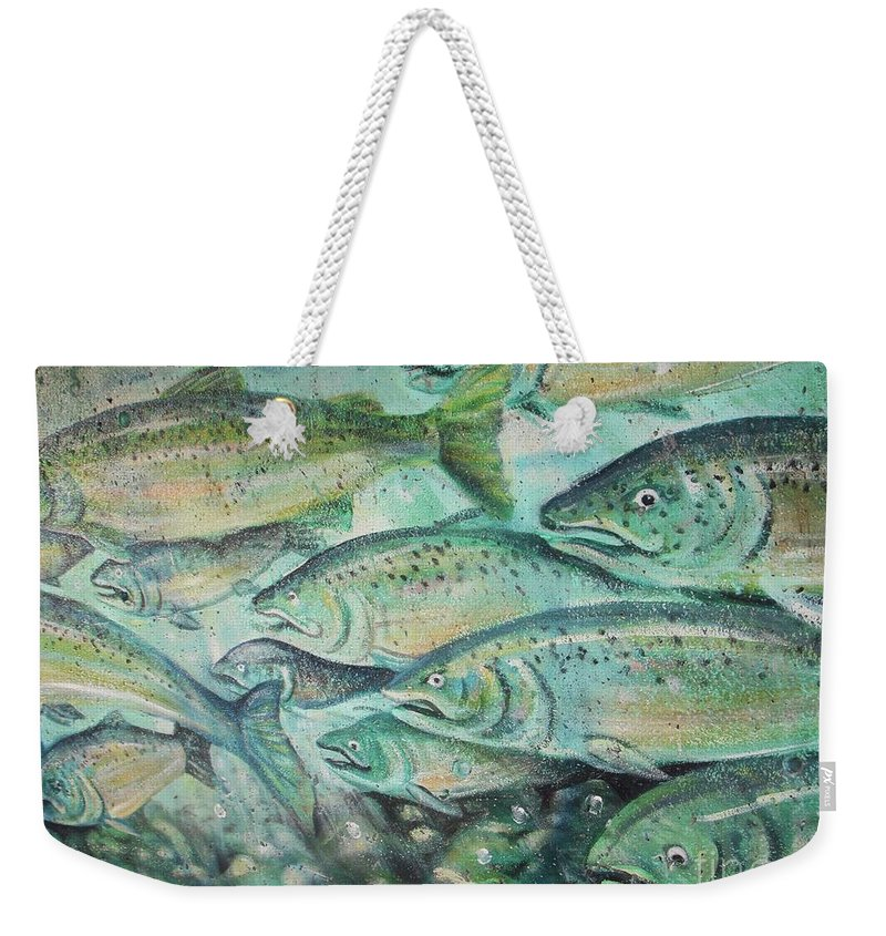 Fish Weekender Tote Bag featuring the photograph Fish On The Wall by Vesna Antic