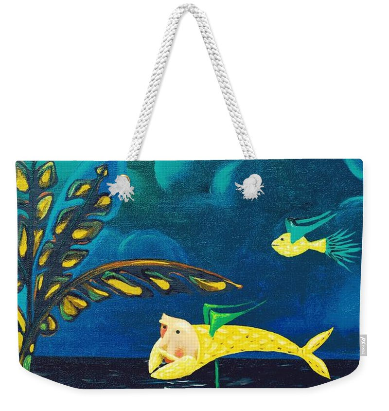 Montes Weekender Tote Bag featuring the painting Fish Riding A Unicycle by Jose Luis Montes