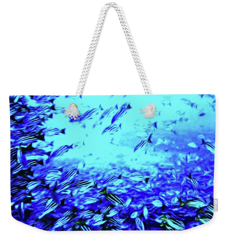 Coral Weekender Tote Bag featuring the digital art Fish Traffic by Joan Minchak