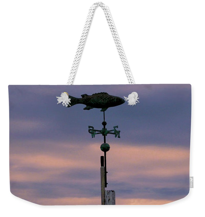 Fish Weekender Tote Bag featuring the photograph Fish Weather Vane At Sunset by Charles Harden