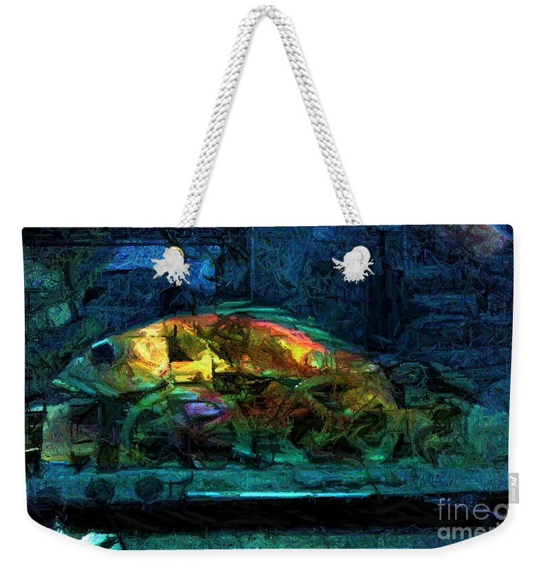 Fish Weekender Tote Bag featuring the digital art Fish Wheels by Ron Bissett