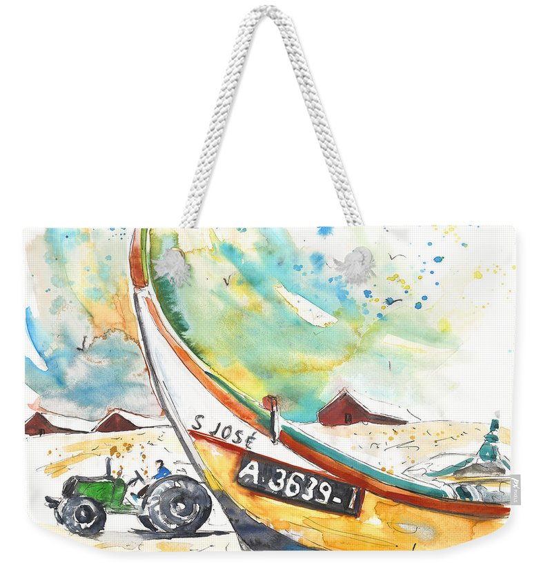 Portugal Weekender Tote Bag featuring the painting Fisherboat In Praia De Mira by Miki De Goodaboom