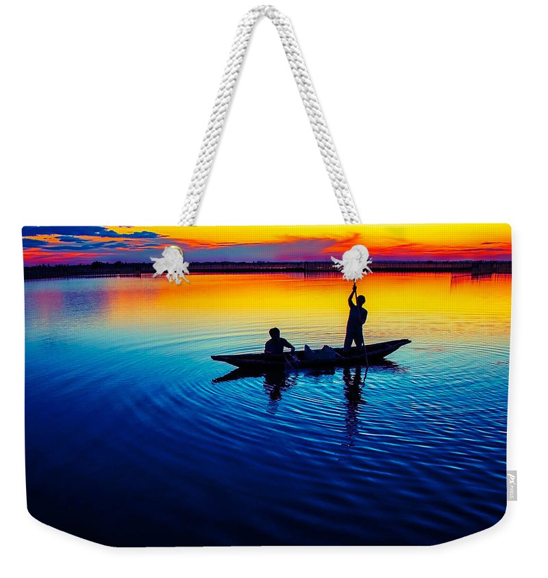 Fisherman Weekender Tote Bag featuring the photograph Fisherman Boat On Summer Sunset, Travel Photo Poster by Long Shot