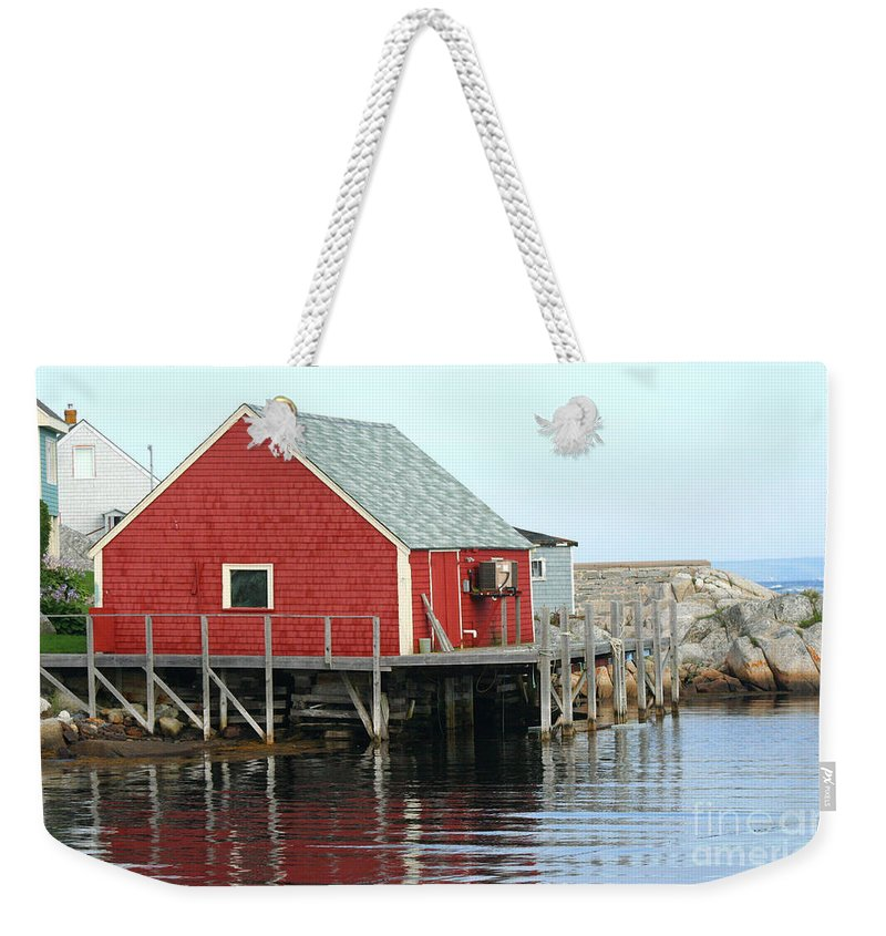Peggy's Cove Weekender Tote Bag featuring the photograph Fishermans House On Peggys Cove by Thomas Marchessault