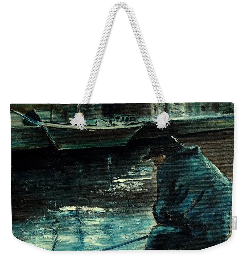 Figurative Weekender Tote Bag featuring the painting Fisherman's Patience by Pol Ledent
