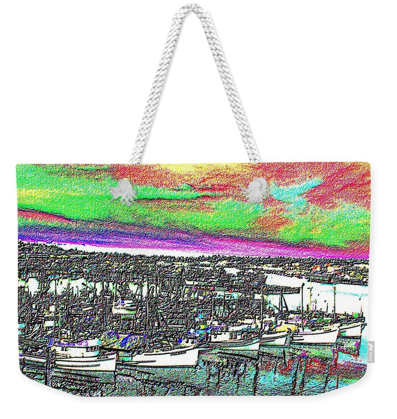 Seattle Weekender Tote Bag featuring the photograph Fishermans Terminal 2 by Tim Allen