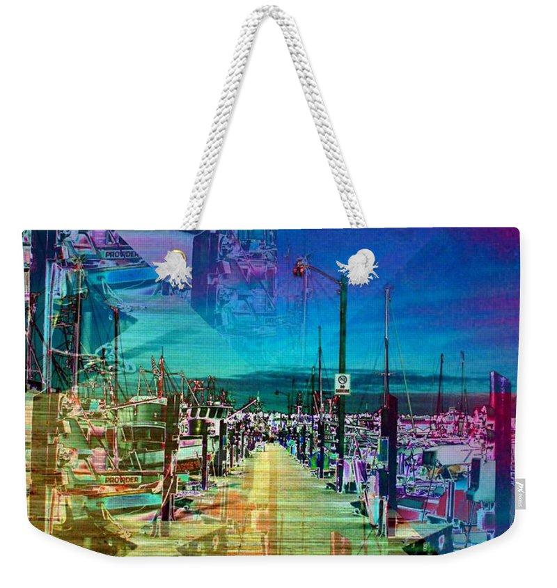 Seattle Weekender Tote Bag featuring the digital art Fishermans Terminal Pier 2 by Tim Allen