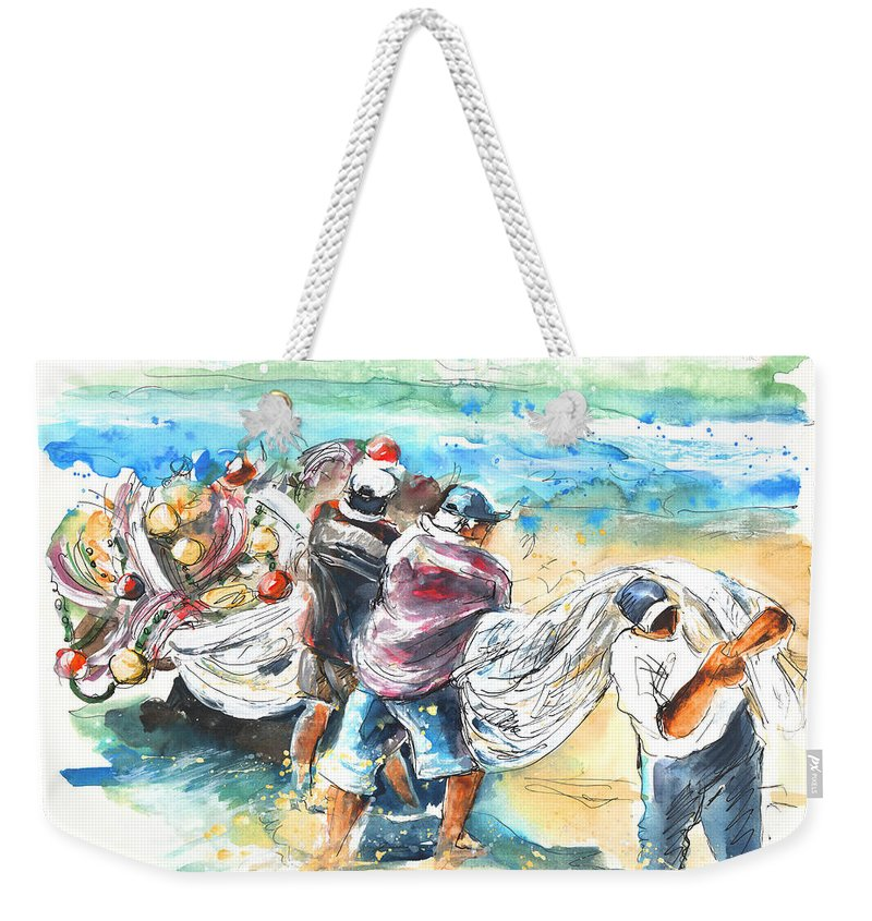 Portugal Weekender Tote Bag featuring the painting Fishermen In Praia De Mira by Miki De Goodaboom