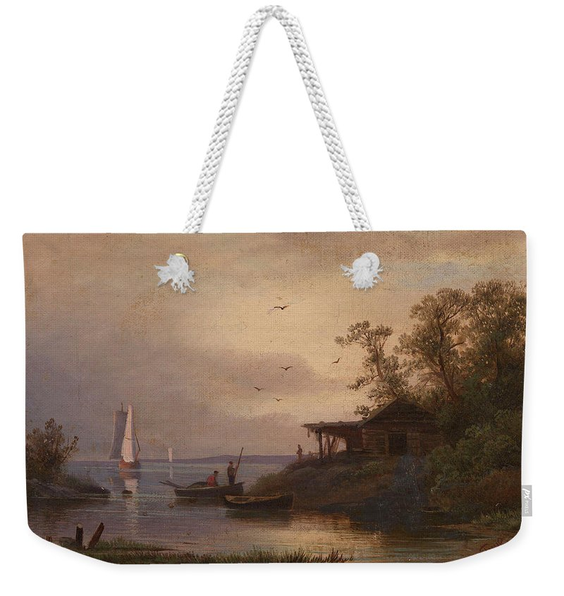Gine Weekender Tote Bag featuring the painting Fishermen In The Harbour by Alexander