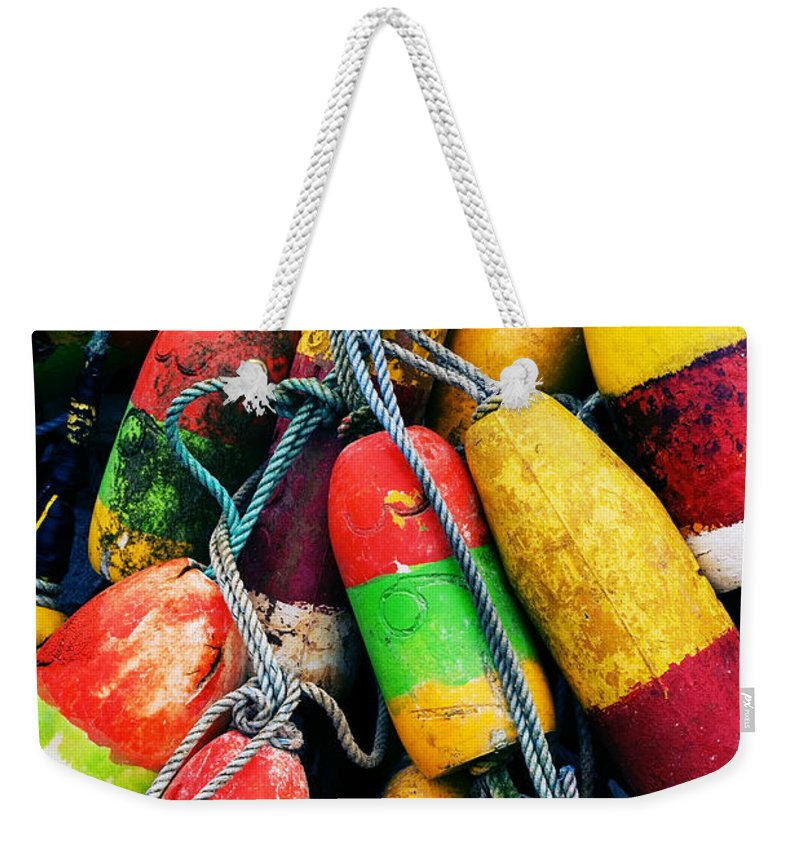 Colorful Weekender Tote Bag featuring the photograph Fishermen's Floats by Renee Hong