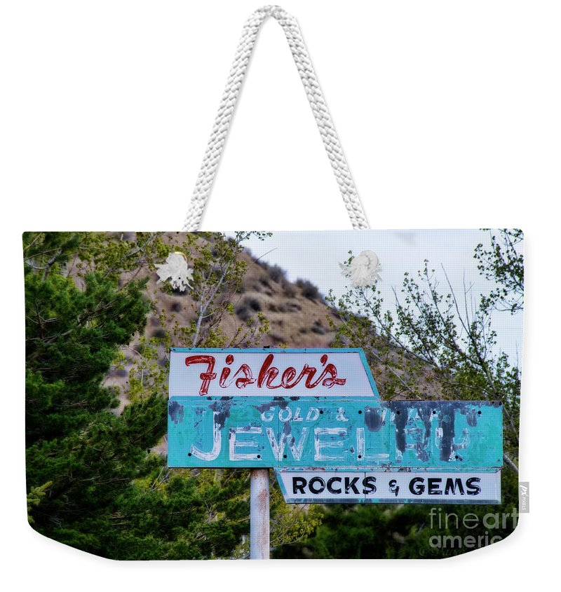 Old Sign Weekender Tote Bag featuring the photograph Fisher's Jewelry by David Arment