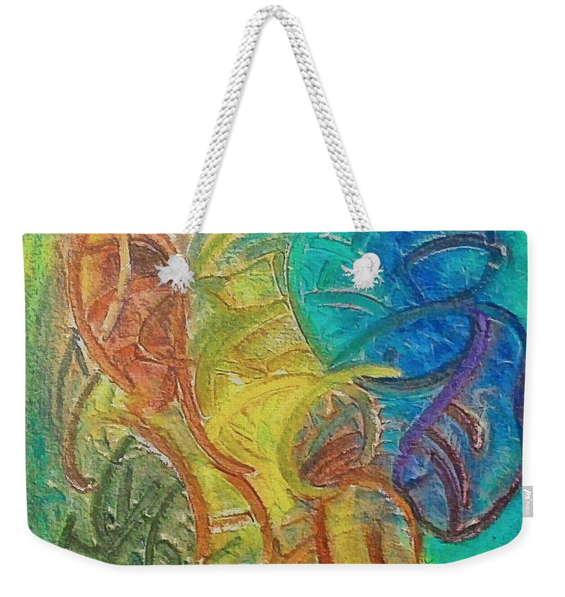 Mixed Media Weekender Tote Bag featuring the mixed media Fishes by Dragica Micki Fortuna