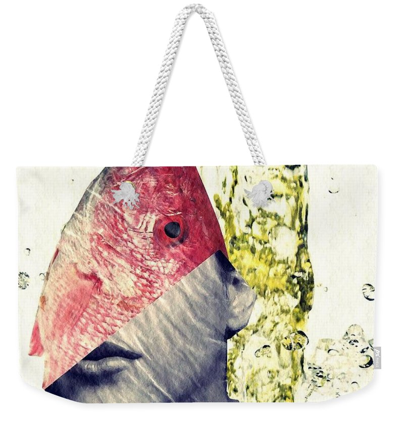 Head Weekender Tote Bag featuring the mixed media Fishhead by Sarah Loft